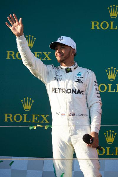 Albert Park, Melbourne, Australia. Sunday 26 March 2017. Lewis Hamilton, Mercedes AMG, 2nd Position, on the podium. World Copyright: Steve Etherington/LAT Images ref: Digital Image SNE25409