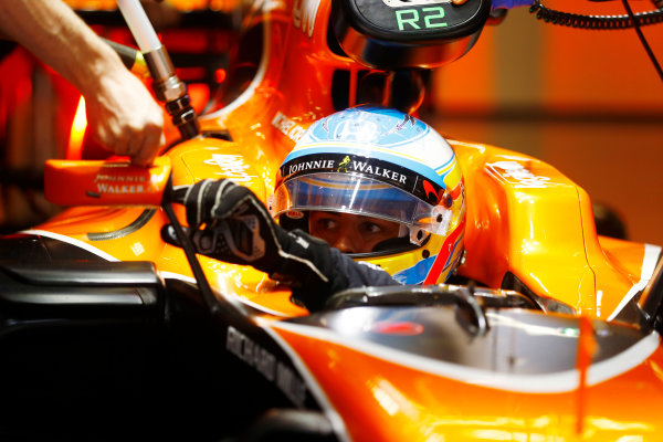 Shanghai International Circuit, Shanghai, China.  Friday 07 April 2017. Fernando Alonso, McLaren, in cockpit. World Copyright: Steven Tee/LAT Images ref: Digital Image _R3I1704