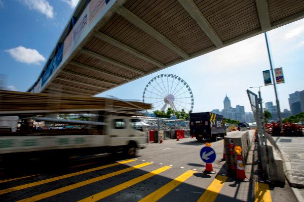 2016/2017 FIA Formula E Championship. Hong Kong ePrix, Hong Kong, China. Thursday 6 October 2016. Traffic on the circuit. Photo: Zak Mauger/LAT/Formula E ref: Digital Image _X0W0836