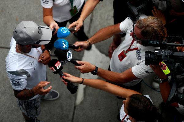 Sepang International Circuit, Sepang, Malaysia. Thursday 29 September 2016. Lewis Hamilton, Mercedes AMG talks to the media. World Copyright: Glenn Dunbar/LAT Photographic ref: Digital Image _31I7809