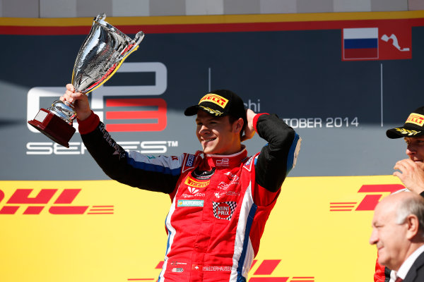 2014 GP3 Series. Round 8.   Sochi Autodrom, Sochi, Russia. Sunday Race 2 Sunday 12 October 2014. Patric Niederhauser (SUI, Arden International) on the podium. Photo: Alastair Staley/GP3 Series Media Service. ref: Digital Image _79P5799
