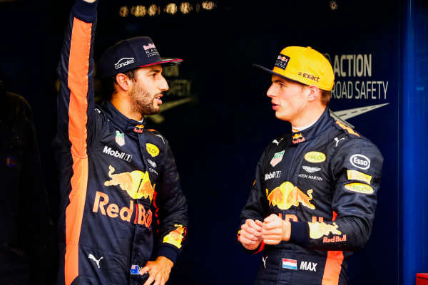 Autodromo Nazionale di Monza, Italy. Saturday 02 September 2017. Daniel Ricciardo, Red Bull Racing, and Max Verstappen, Red Bull, after Qualifying. World Copyright: Zak Mauger/LAT Images  ref: Digital Image _56I7666