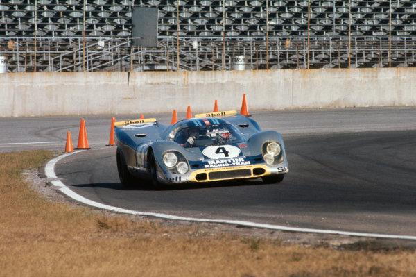 1971 Daytona 24 Hours. Daytona, Florida, USA. 30th - 31st January 1971. Rd 2. Vic Elford / Gijs van Lennep (Porsche 917K), retired, action.  World Copyright: LAT Photographic.