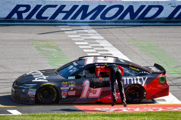 22-24 April, 2016, Richmond, Virginia USA Carl Edwards, XFINITY Toyota Camry celebrates his win with a back flip ? 2016, Nigel Kinrade LAT Photo USA