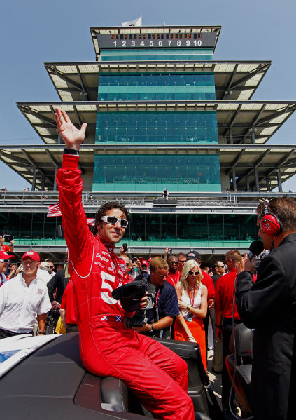 27 May, 2012, Indianapolis, Indiana, USADario Franchitti waves to the crowd on his victory lap.(c)2012, Phillip AbbottLAT Photo USA