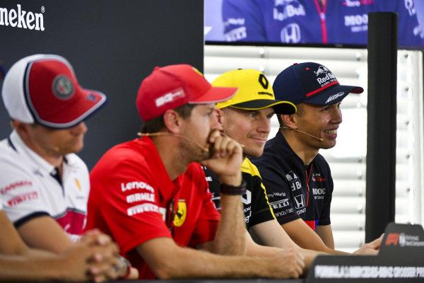 Alexander Albon, Toro Rosso, Nico Hulkenberg, Renault F1 Team, Sebastian Vettel, Ferrari and Kimi Raikkonen, Alfa Romeo Racing In the Press Conference