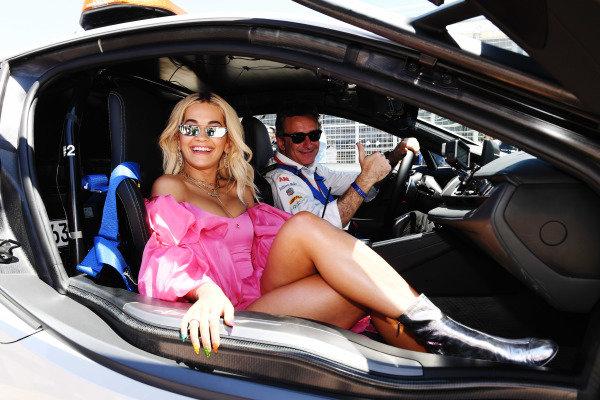 Alejandro Agag, CEO, Formula E with Rita Ora in the Qualcomm BMW i8 Safety car
