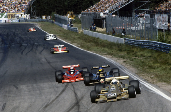 Riccardo Patrese, Arrows FA1 Ford leads Ronnie Peterson, Lotus 79 Ford and John Watson, Brabham BT46B Alfa Romeo.