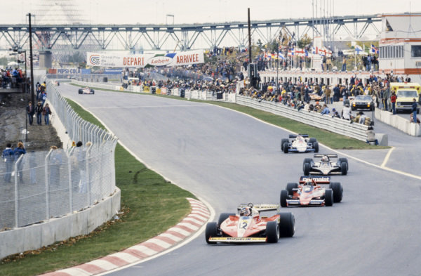 Gilles Villeneuve, Ferrari 312T3 leads John Watson, Brabham BT46 Alfa Romeo, Mario Andretti, Lotus 79 Ford and Patrick Depailler, Tyrrell 008 Ford.