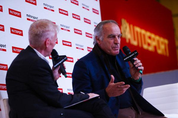 Giorgio Piola talks to Alan Hyde on the Autosport Stage.