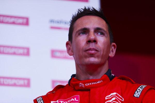 Colin Clark talks to the Citroen WRC team on the Autosport Stage.