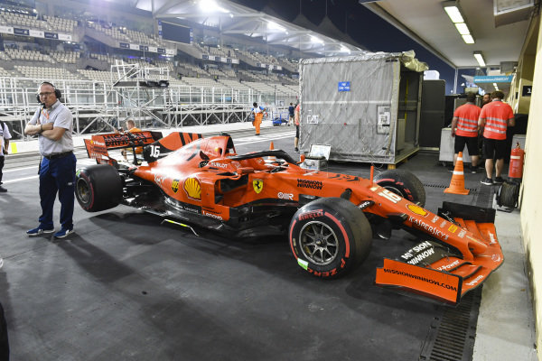 The Charles Leclerc Ferrari SF90 in parc ferme