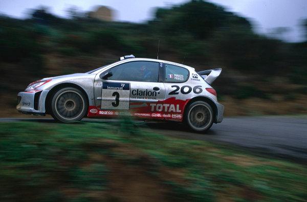 2002 World Rally ChampionshipTour De Corse, Corsica. 8th - 10th March 2002.Gilles Panizzi / Herve Panizzi, Peugeot 206 WRC, 1st position overall. World Copyright: McKlein/LAT Photographicref: 35mm Image 02 WRC 01