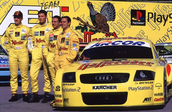 2001 DTM TestingHockenheim, Germany. 5th April 2001.the Abt-Audi TT-R team of Christian Abt, Laurent Aiello. Mattias Ekstrom and Martin Tomczyk.World Copyright: Peter Spinney/LAT Photographic.