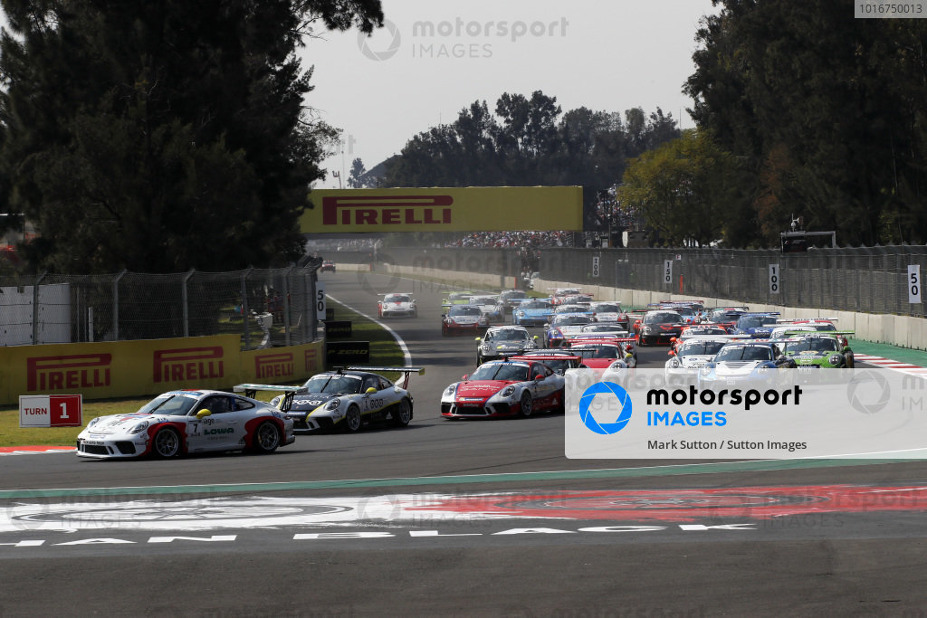 Matt Campbell (AUS) Fach Auto Tech leads at the start of the race at Porsche Supercup, Rd11 Circuit Hermanos Rodriguez, Mexico City, Mexico, 27-29 October 2017.