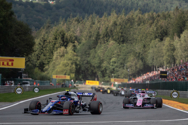 Pierre Gasly, Toro Rosso STR14, leads Lance Stroll, Racing Point RP19