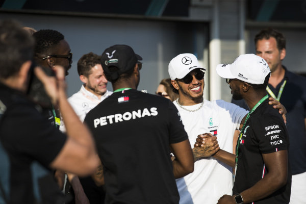 Lewis Hamilton, Mercedes AMG F1, 1st position, celebrates with guests