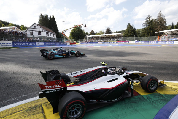 SPA-FRANCORCHAMPS, BELGIUM - AUGUST 31: Nyck De Vries (NLD, ART GRAND PRIX), leads Sergio Sette Camara (BRA, DAMS) during the Spa-Francorchamps at Spa-Francorchamps on August 31, 2019 in Spa-Francorchamps, Belgium. (Photo by Joe Portlock / LAT Images / FIA F2 Championship)