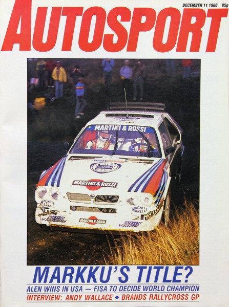 Cover of Autosport magazine, 11th December 1986