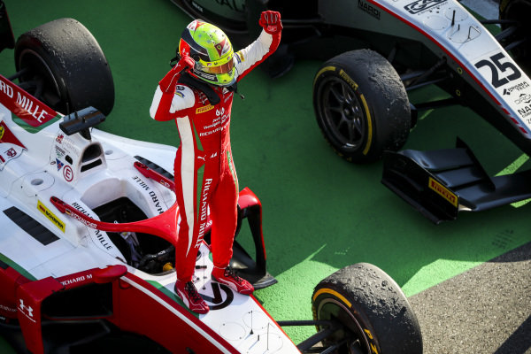 Race winner Mick Schumacher (DEU, PREMA RACING) celebrates in Parc Ferme