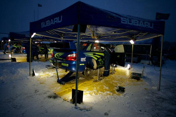 2005 FIA World Rally Champs. Round two Swedish Rally.10th-13th February 2005.Subaru serviceWorld Copyright: McKlein/LAT