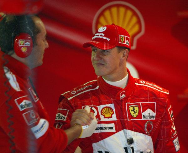 2004 Belgian Grand Prix - Friday Practice,Spa-Francorchamps, Belgium. 27th August 2004 Michael Schumacher, Ferrari F2004, portrait.World Copyright: Steve Etherington/LAT Photographic ref: Digital Image Only