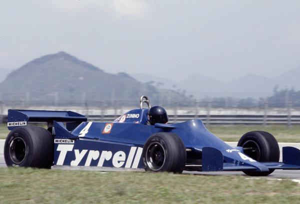1981 Brazilian Grand Prix.Jacarepagua, Rio de Janeiro, Brazil.27-29 March 1981.Ricardo Zunino (Tyrrell 010 Ford) 13th position.Ref-81 BRA 25.World Copyright - LAT Photographic