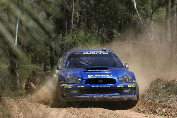2004 FIA World Rally Champs. Round Sixteen, Rally Australia.11th - 14th November 2004.Mikko Hirvonen, Subaru, action.World Copyright: McKlein/LAT