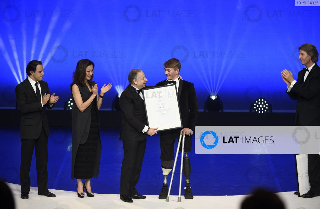 FIA Prize Giving Versailles, France. December 8, 2017. Billy Monger with Jean Todt during the FIA Prize Giving at Versailles. World Copyright: Jean Marie Hervio / DPPI / FIA Image ref: Digital image auto---fia-prize-giving---versailles-2017_38922624611_o