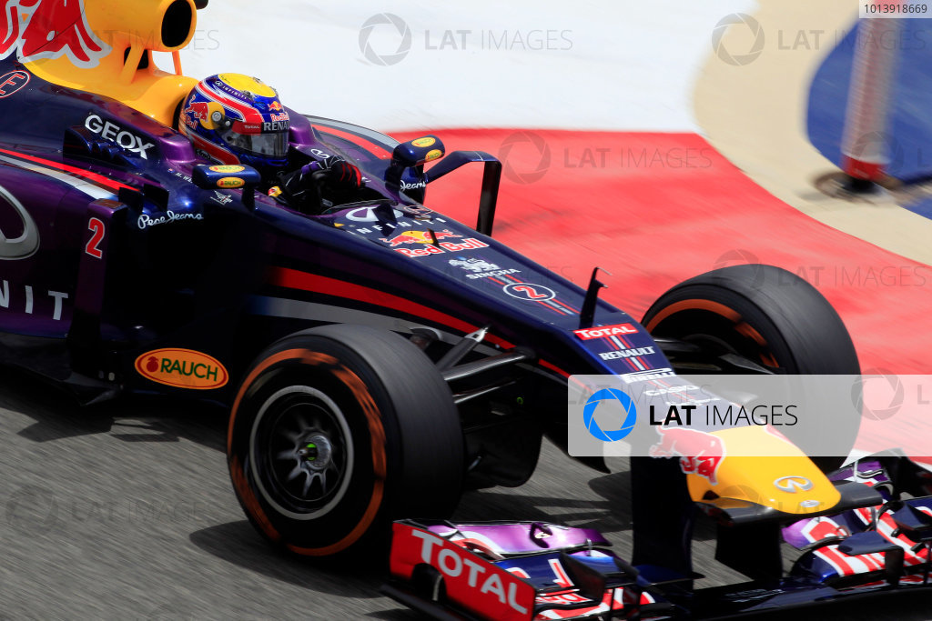 Bahrain International Circuit, Sakhir, Bahrain Friday 19th April 2013 Mark Webber, Red Bull RB9 Renault.  World Copyright: Charles Coates/LAT Photographic ref: Digital Image _X5J2548
