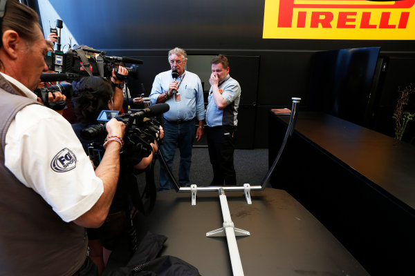 Silverstone, Northamptonshire, England. 30th June 2013. Paul Hembery, Director, Pirelli, holds a Press Conference after the race World Copyright: Charles Coates/  ref: Digital Image _N7T4938