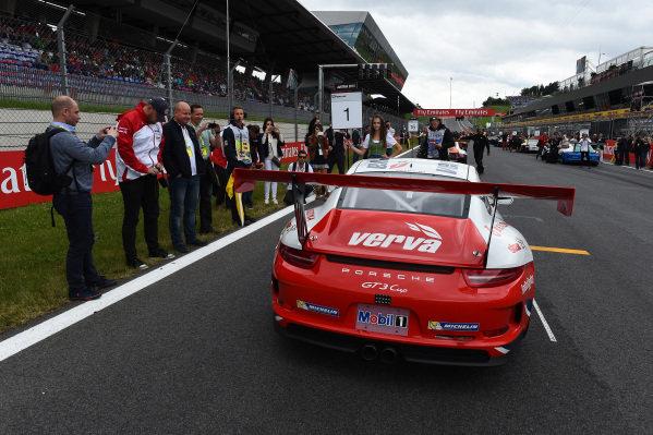 Kuba Giermaziak (POL) VERVA Lechner Racing Team on the grid at Porsche Supercup, Rd3, Spielberg, Austria, 19-21 June 2015.