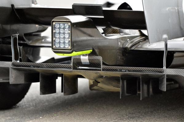 Mercedes AMG F1 W04 rear diffuser detail. Formula One World Championship, Rd9, German Grand Prix, Practice, Nurburgring, Germany, Friday 5 July 2013.