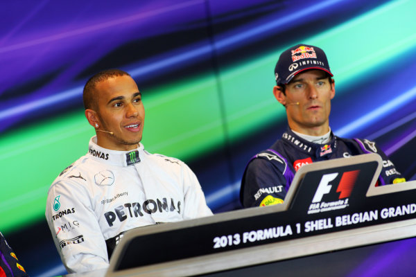 Spa-Francorchamps, Spa, Belgium. 24th August 2013. Lewis Hamilton, Mercedes AMG, and Mark Webber, Red Bull Racing, in the post qualifying Press Conference. World Copyright: Sam Bloxham/LAT Photographic. ref: Digital Image IMG_8080.
