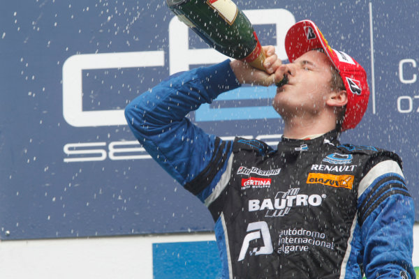 Circuit de Catalunya, Spain. 9th May 2010. Sunday Race.Fabio Leimer (SUI, Ocean Racing Technology) celebrates his victory on the podium. Photo: Andrew Ferraro/GP2 Media Service.Ref: _Q0C3190 jpg
