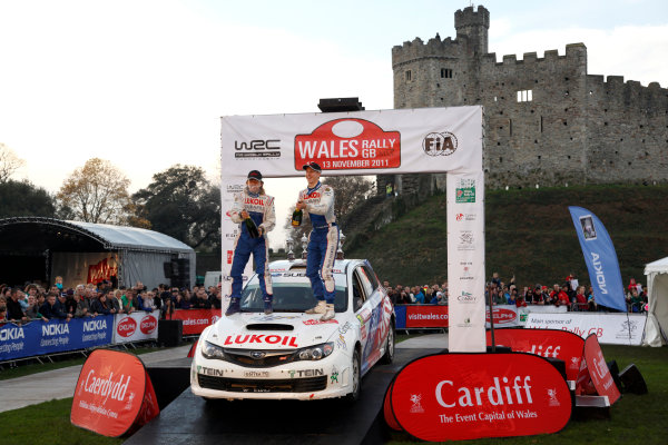 Round 13 Wales Rally GB. 10th-13th November 2011.Patrik Flodin, Timo Alanne, Subaru PWRC, Portrait, podium finish.Worldwide Copyright: McKlein/LAT