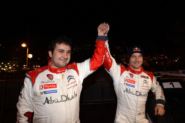 R-L: Sebastien Loeb (FRA) and Daniel Elena (MC), winners of the 2013 Monte Carlo Rally after the final two stages were cancelled. FIA World Rally Championship, Rd1, Rally Monte- Carlo, Day Four, Monte-Carlo, Monaco, 19 January 2013.