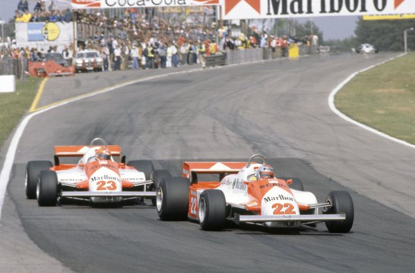 1981 Belgian Grand Prix.Zolder, Belgium. 15-17 May 1981.Mario Andretti leads Bruno Giacomelli (both Alfa Romeo 179C).World Copyright: LAT PhotographicRef: 35mm transparency 81BEL27