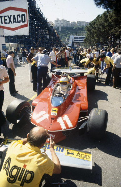 Jody Scheckter, Ferrari 312T4 in the pitlane.
