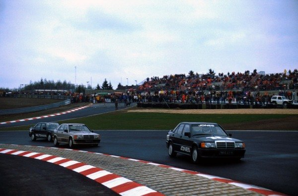 Alan Jones (AUS) leads race winner Ayrton Senna (BRA) and Carlos Reutemann (ARG).  The race was held to mark the opening of the new Nurburgring circuit.  Mercedes-Benz 190E 2.3-16 Cup, Nurburgring 12 May 1984