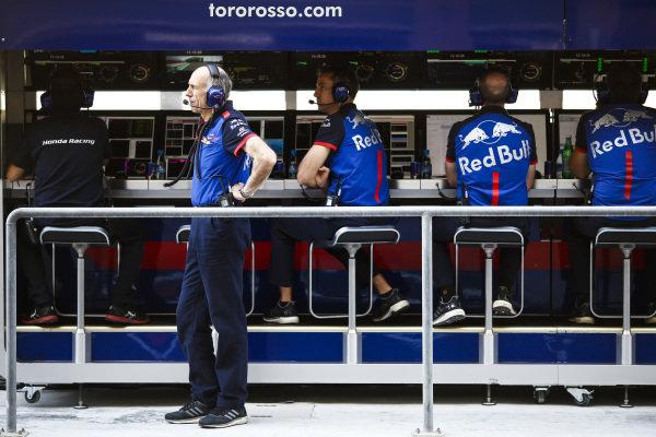 Franz Tost, Team Principal, Scuderia Toro Rosso, on the pit wall