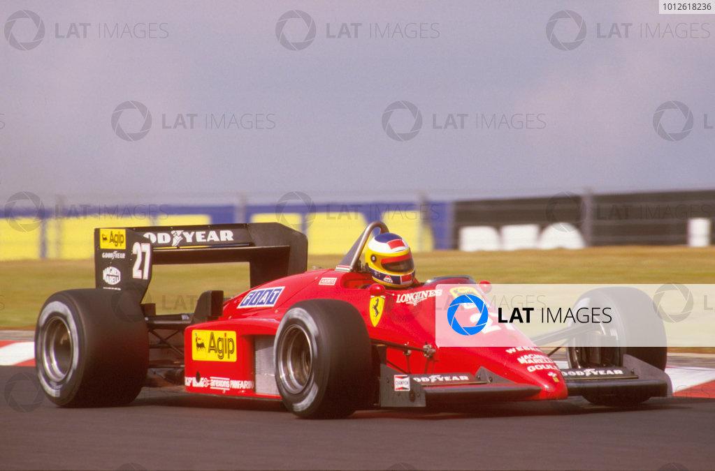 Nurburgring, Germany.2-4 August 1985.Michele Alboreto (Ferrari 156/85) 1st position.Ref-85 GER 07.World Copyright - LAT Photographic
