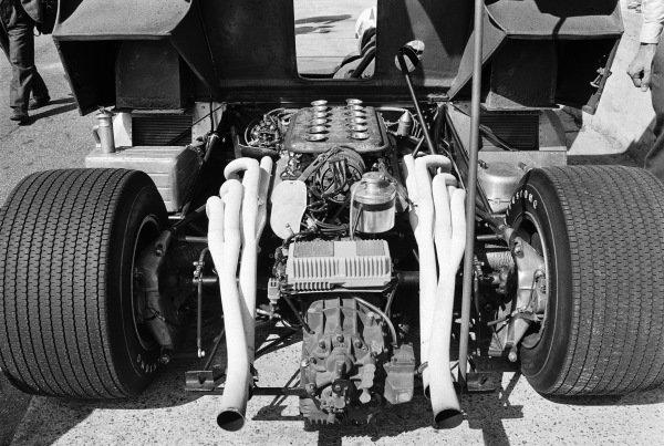 Detail of the Ferrari 312 P engine bay.