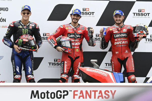 Francesco Bagnaia, Ducati Team, Jack Miller, Ducati Team, Fabio Quartararo, Yamaha Factory Racing.