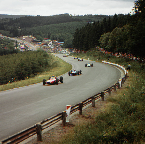 Spa-Francorchamps, Belgium.12-14 June 1964.  Giancarlo Baghetti (BRM P57) leads a group of cars at Raidillon.  Ref-3/1245.World Copyright - LAT Photographic