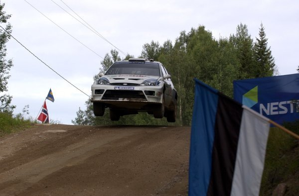 Rally winner Markko Martin (EST), Ford Focus RS WRC 03.FIA World Rally Championship, Rd9, Neste Rally Finland, Jyvaskyla, Finland, Day 3, 10 August 2003.DIGITAL IMAGE