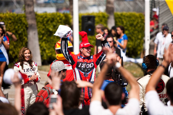 Long Beach. California, USA. 16th - 18th April 2010. Ryan Hunter - Reay, (Andretti Autosport) celebrates victory in parc ferme, Portrait. World Copyright: Drew Gibson/LAT Photographic. Digital Image _Y8P1064