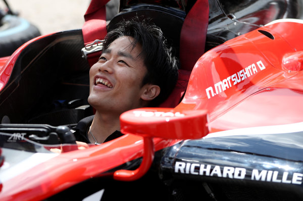 2017 FIA Formula 2 Round 2. Circuit de Catalunya, Barcelona, Spain. Thursday 11 May 2017. Nobuharu Matsushita, ART Grand Prix during pitstop practice Photo: Jed Leicester/FIA Formula 2. ref: Digital Image JL2_9884