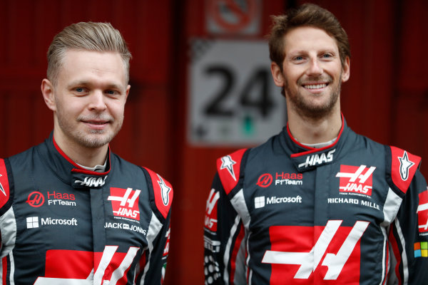 HAAS F1 Car Formula 1 Launch. Barcelona, Spain  Monday 27 February 2017. Kevin Magnussen, Haas. and Romain Grosjean, Haas F1.  World Copyright: Dunbar/LAT Images Ref: _31I9923