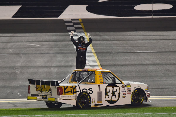 2017 Camping World Truck - NextEra Energy Resources 250 Daytona International Speedway, Daytona Beach, FL USA Friday 24 February 2017 Kaz Grala, Wins the Camping World Truck Series race. World Copyright: John K Harrelson / LAT Images ref: Digital Image 17DAY2jh_04752